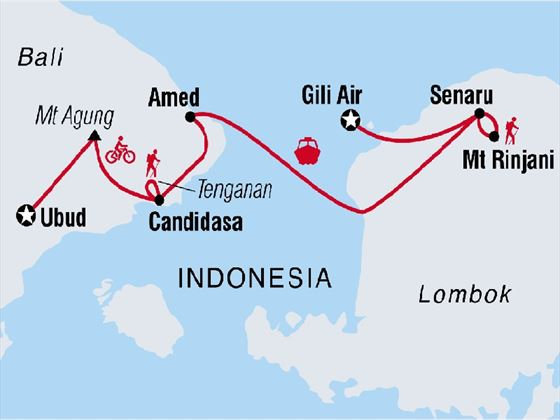 Bali & Lombok: Hike, Bike & Raft Map