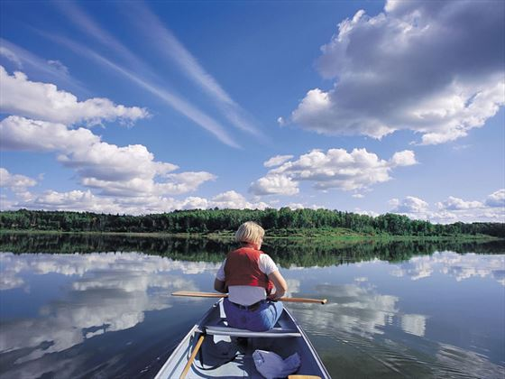 Canoeing in Astotin Lake, Elk Island National Park, near Edmonton