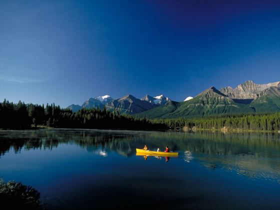 Canoeing in Herbert Lake, Banff National Park