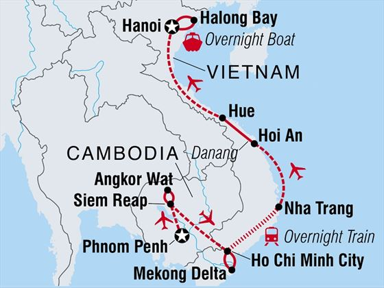 Classic Cambodia and Vietnam Map