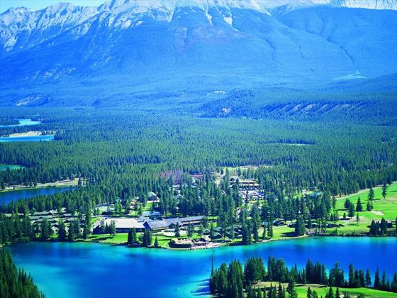 Aerial view of the Fairmont Jasper Park Lodge