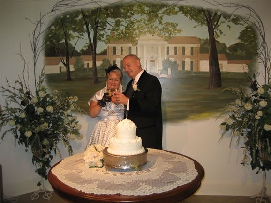 Bride and groom inside Gracelands Chapel in the Woods