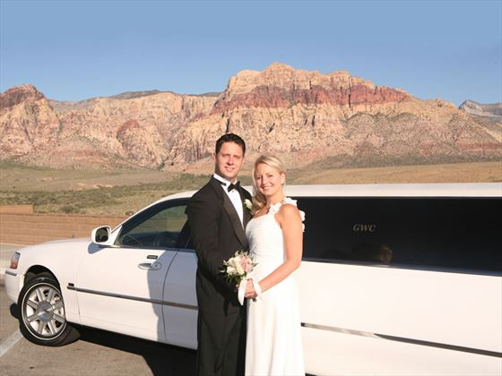 Bride and Groom by limo at Red Rock Canyon