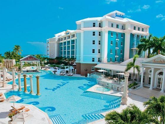 The pool and resort at Sandals Royal Bahamian Spa Resort