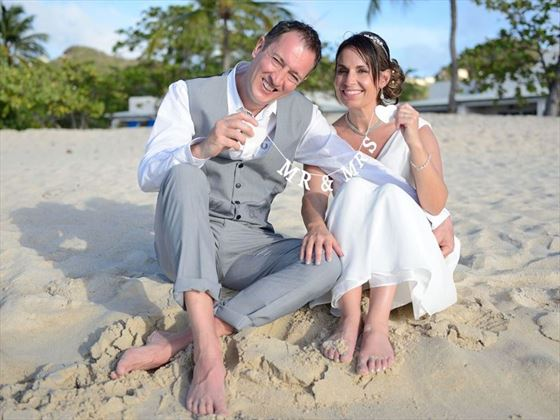 Bride & Groom on the beach at Spice Island
