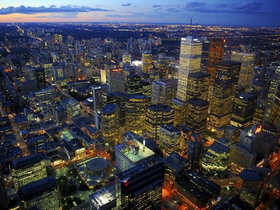 Aerial view of Toronto at night