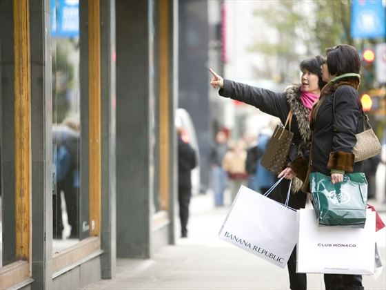 Shopping on Robson Street, downtown Vancouver