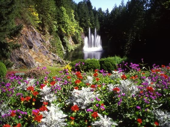Water fountain and flowers at Butchard Gardens, Victoria