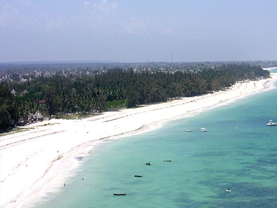 Aerial view of the beach at Pinewood Beach Resort and Spa