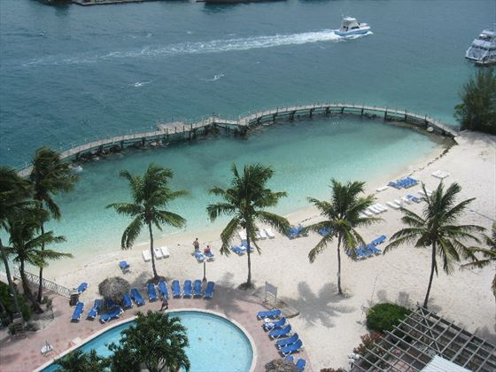 Aerial view of the pool at Paradise Island Harbour Resort