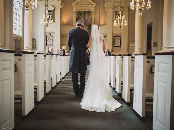 Walking down the aisle at All Souls