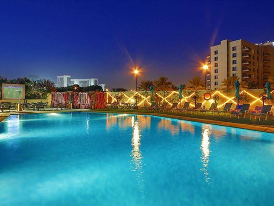 Arabian Park Hotel pool at night