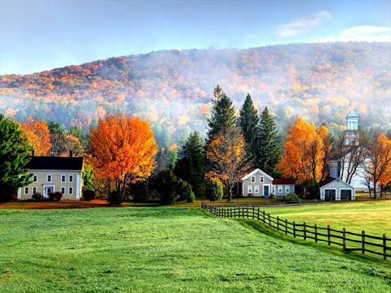Autumn fog in the village of Tyringham in the Berkshires