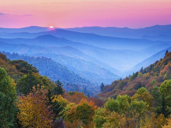 Autumn sunrise over Great Smoky Mountains National Park