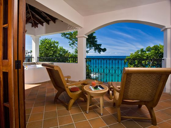 Balcony in Ocean View Villa Suite with Jacuzzi at Cap Maison
