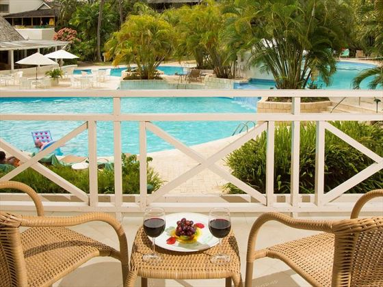 Balcony views of the pool area at The Club Barbados Resort and Spa