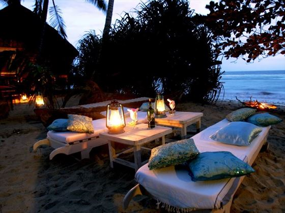 Beach dining and Msambweni Beach House
