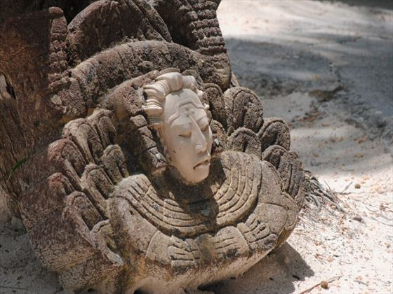 Mayan beach sculpture