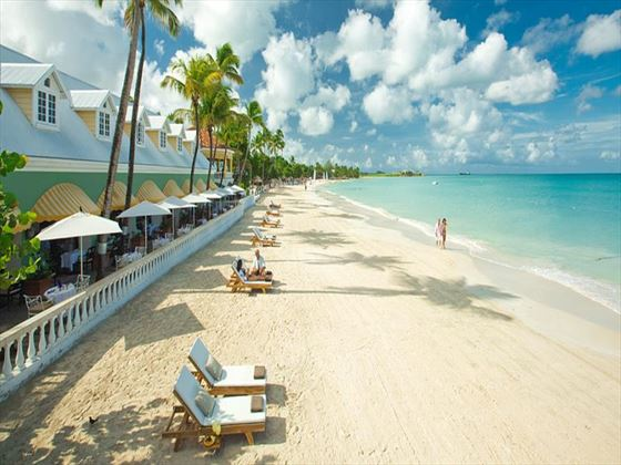 Beachfront loungers at Sandals Grande Antigua Resort & Spa