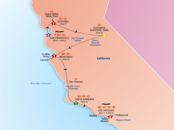 Best of California Tour Map