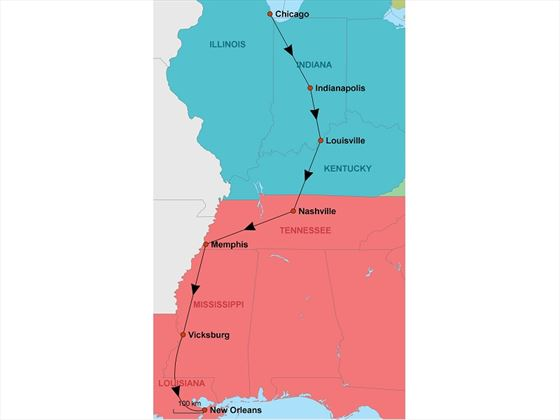 Chicago to New Orleans map