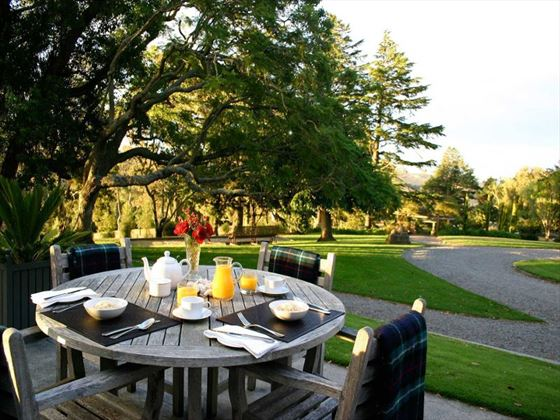 Breakfast overlooking the gardens at Greenhill Lodge