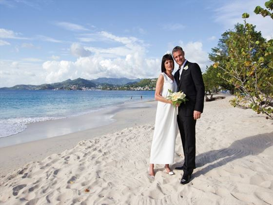 Bride and groom on the beach