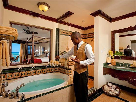 Butler drawing a bath a Sandals Montego Bay