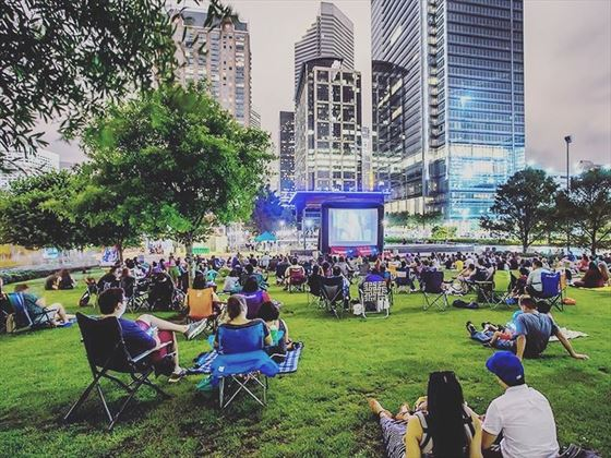 Catching a movie at Discovery Green, Texas