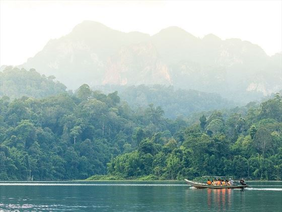 Canoeing Cheow Larn Lake, Elephant Hills, Khao Sok