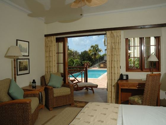 Pool view room at Bequia Beach Hotel