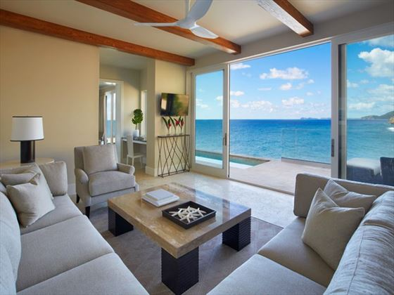 Cliff Suite living room at Oil Nut Bay