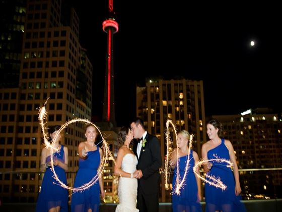 Wedding celebrations outside the CN Tower