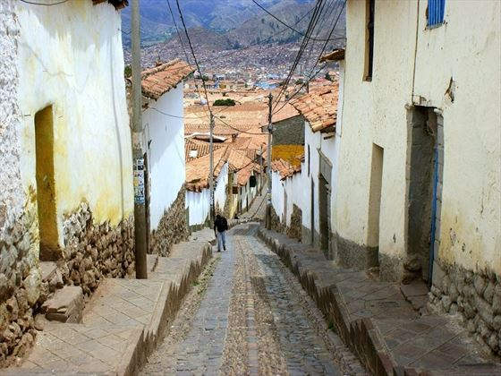 Steep cobbled streets in Cusco, Peru
