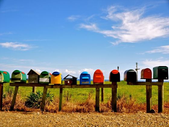 Colourful post boxes