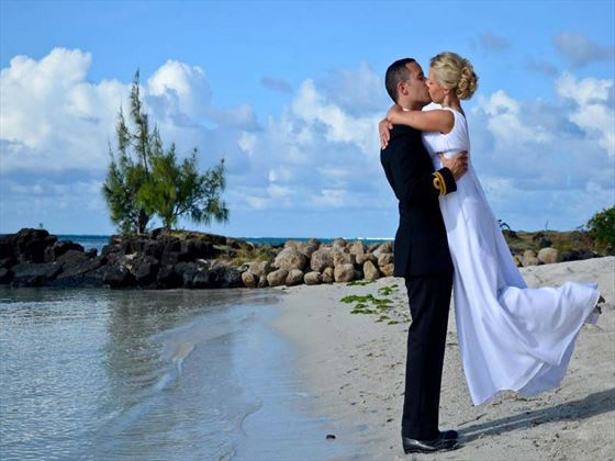 Bride & Groom on the beach at Constance Le Prince Maurice