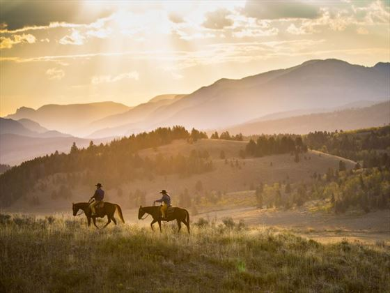 Horseriding cowboys in Wyoming