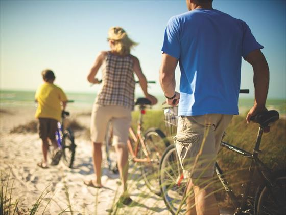 Cycling to the beach in Fort Myers