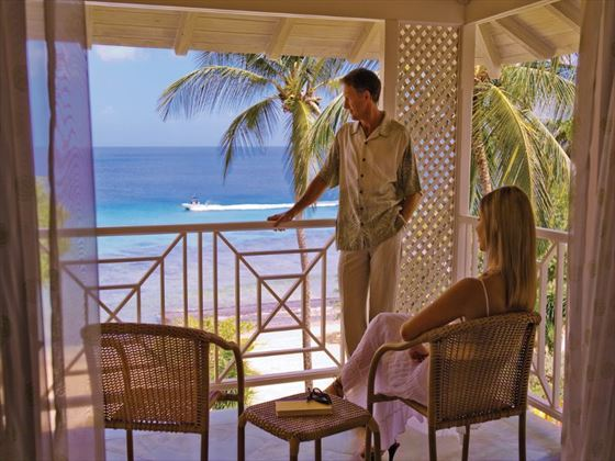 Deluxe Beachfront room balcony at Almond Beach Resort