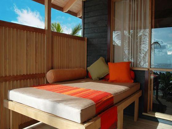 Exterior view of a typical O Beach Villa at Kuredu Island Resort