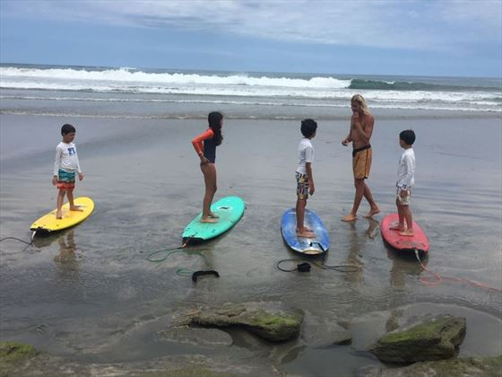 Family on beach in Costa Rica