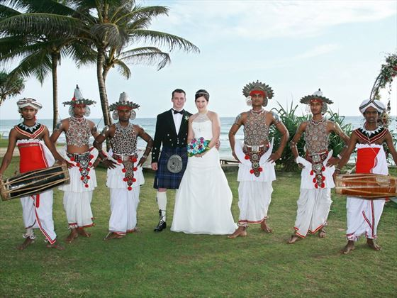 Bride & Groom with their Kandyan dancers & drummers
