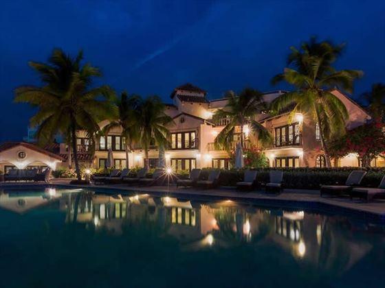 Frangipani Beach Hotel at night