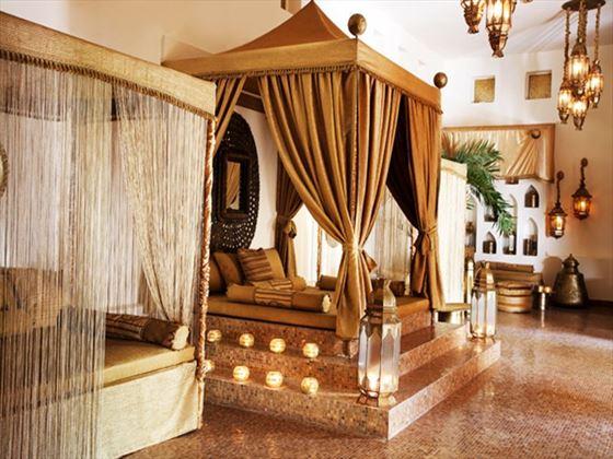 Frangipani spa seating area at Baraza Resort & Spa