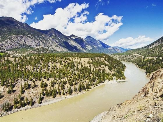 Fraser River flowing through the Cariboo Mountains