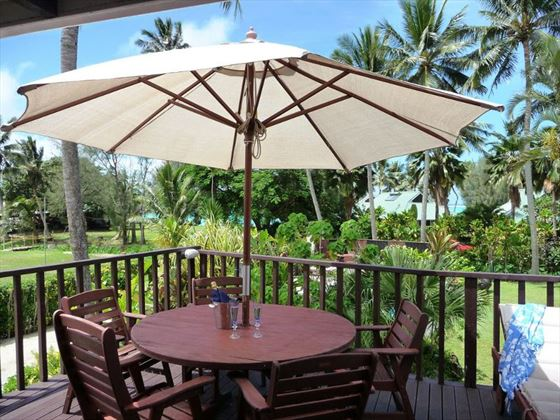 Outdoor dining area at Muri Beachcomber