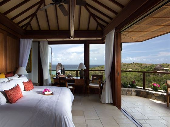 Great House bedroom and balcony at Necker Island