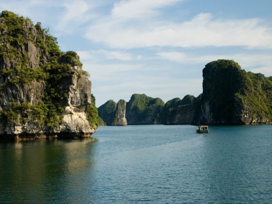 View of Halong Bay rock formations