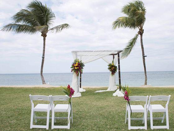 Wedding setting on the West Lawn, Hilton Rose Hall