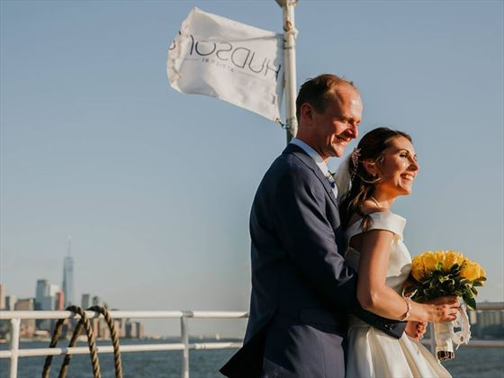 Bridal couple on board Hudsons